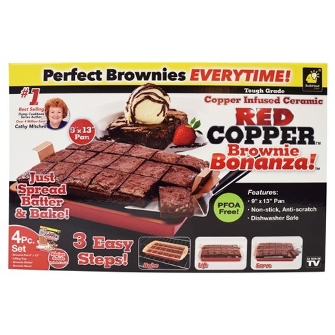 As Seen on TV® Copper Brownie Bonanza Cake Pan - Red - image 1 of 1