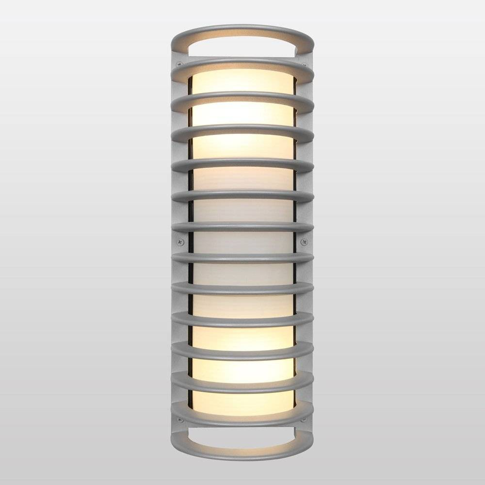 Image of 17 Bermuda Led Outdoor Wall Light with Ribbed Frosted Glass Shade - Access Lighting, Silver