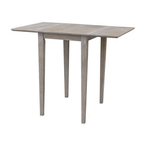 Small Solid Wood Drop Leaf Table Washed Gray Taupe International Concepts