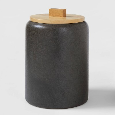 Large Stoneware Tilley Food Storage Canister with Wood Lid Black - Project 62™