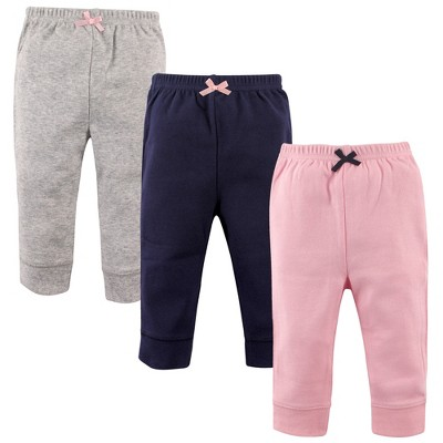 Luvable Friends Baby and Toddler Girl Cotton Pants 3pk, Light Pink Navy