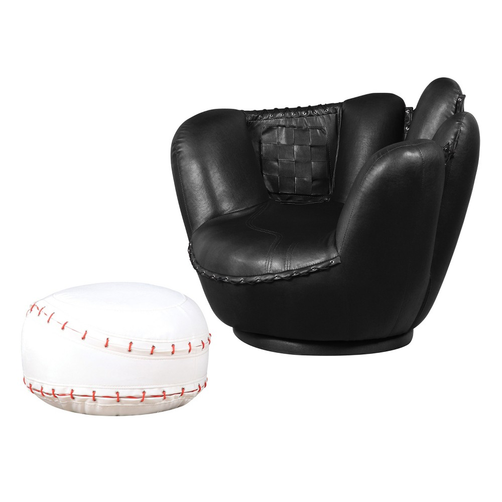 Acme Furniture, Black, Kids Upholstered Chair and Ottoman Set
