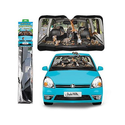 """Accoutrements Car Full of Squirrels 50"""" x 27-1/2"""" Auto Sunshade"""