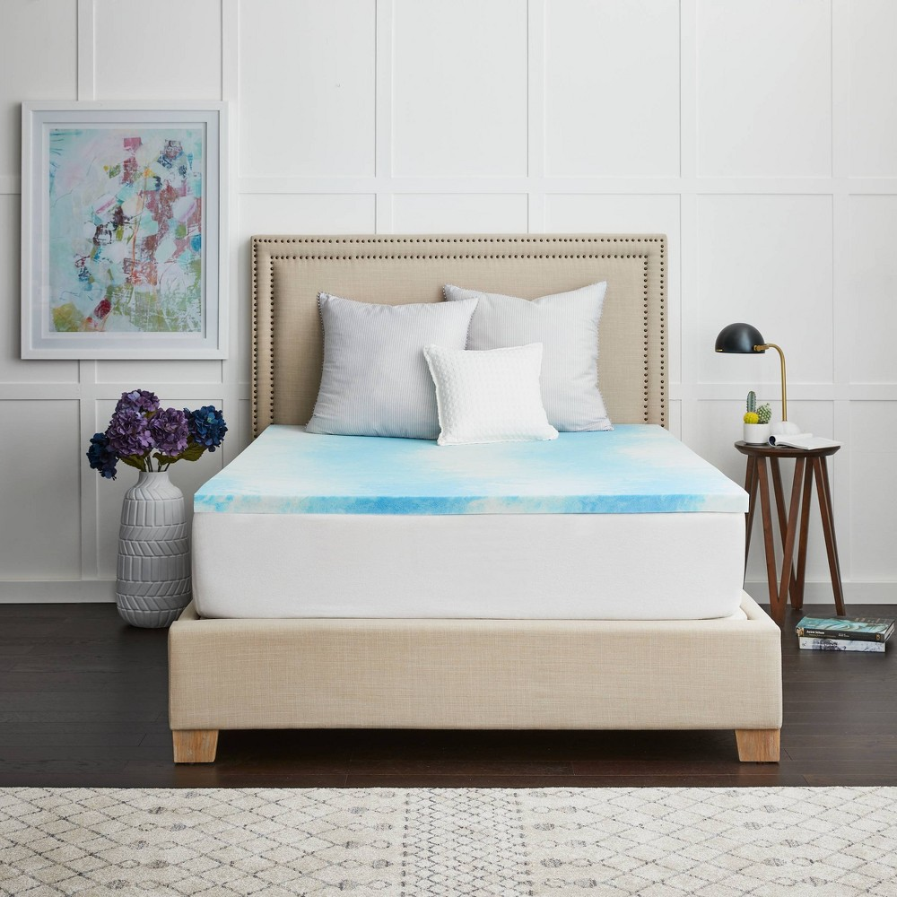 """Image of """"Full 2"""""""" Memory Foam Mattress Topper with Cover - Sealy, White"""""""