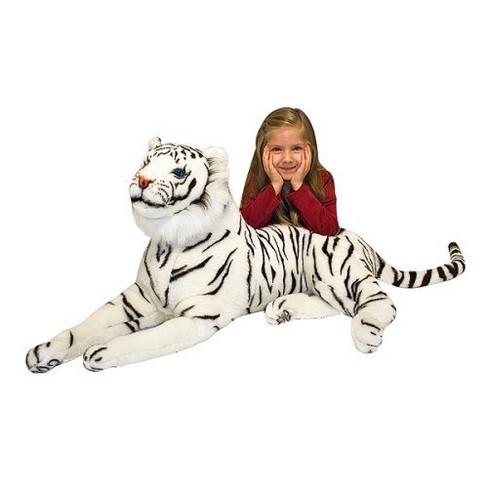 Melissa Doug Giant Siberian White Tiger Lifelike Stuffed Animal