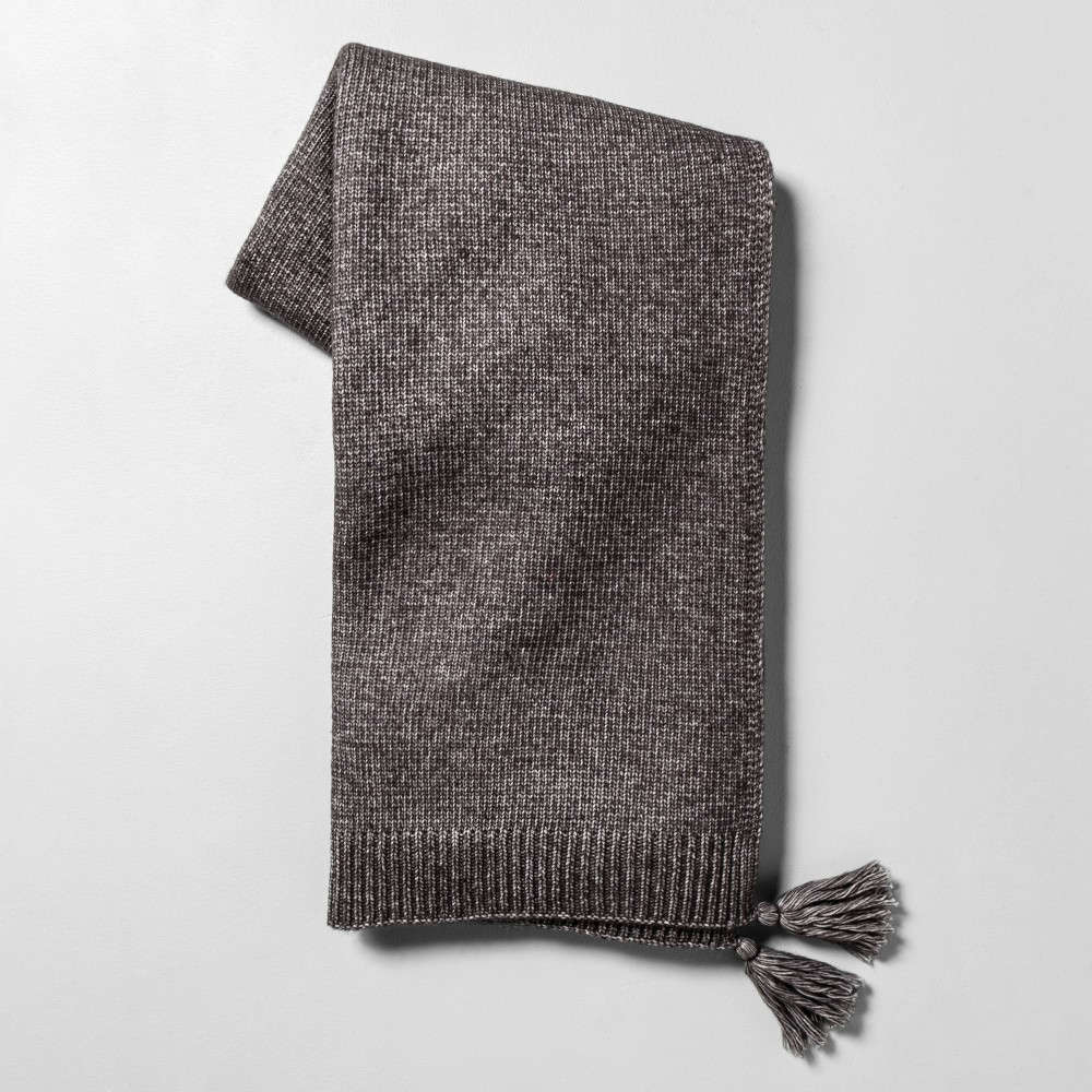 Image of Throw Blanket with Tassels Galvanized Gray - Hearth & Hand with Magnolia