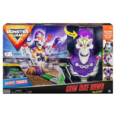 Monster Jam Grim Take-down Playset  Featuring Exclusive 1:64 Scale Die-Cast Grave Digger Monster Truck - image 1 of 4