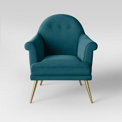 Exceptionnel Myna Tufted Velvet Arm Chair With Brass Legs   Opalhouse™