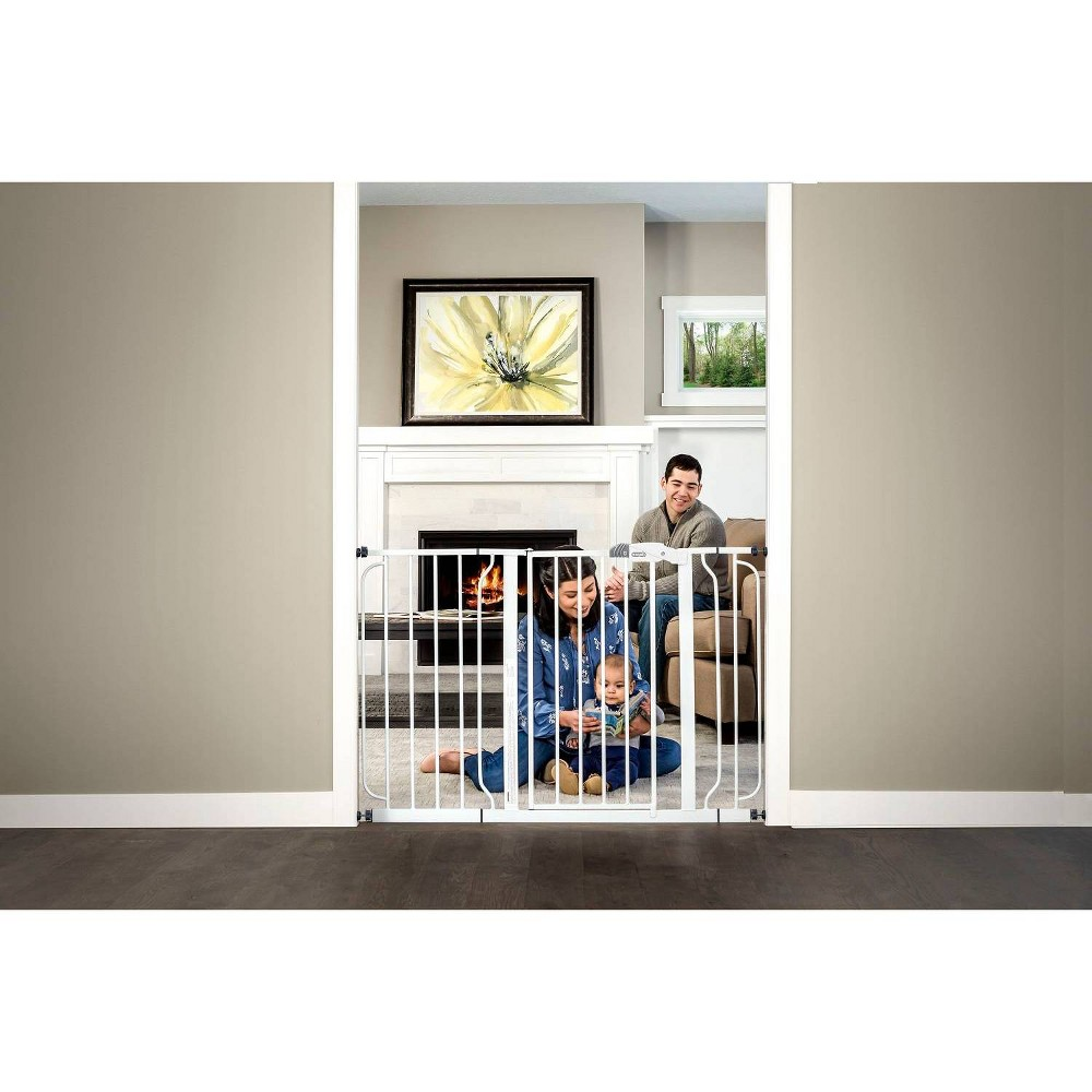 Image of Regalo Extra Wide Easy Step Metal Walk -Through Baby Gate - White
