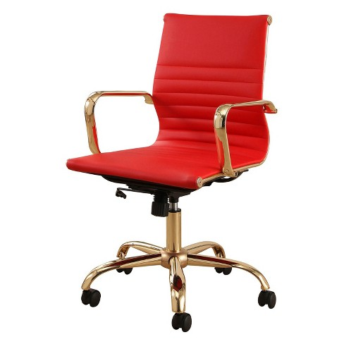 Jackson Gold Finish Leather Office Chair - Red - Abbyson - image 1 of 3