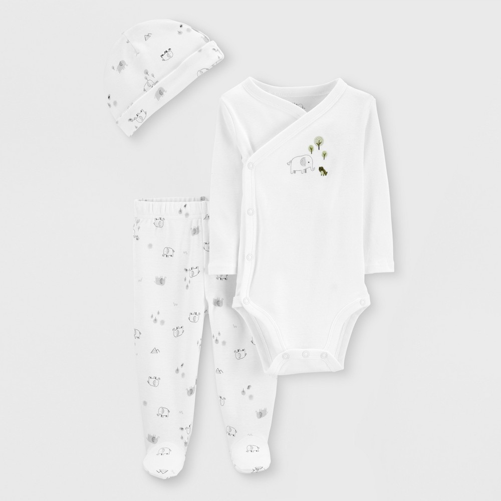 Little Planet Organic by carter's Baby Elephant Print Top and Bottom Set - White Preemie, Infant Unisex
