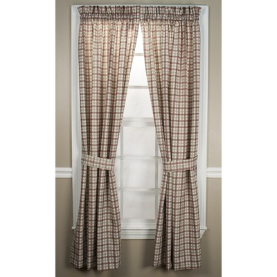 "Ellis Curtain Bristol Plaid High Quality 2-Piece Window Rod Pocket Tailored Panel Pairs Curtains With 2 Tie Backs - 68""x84"""