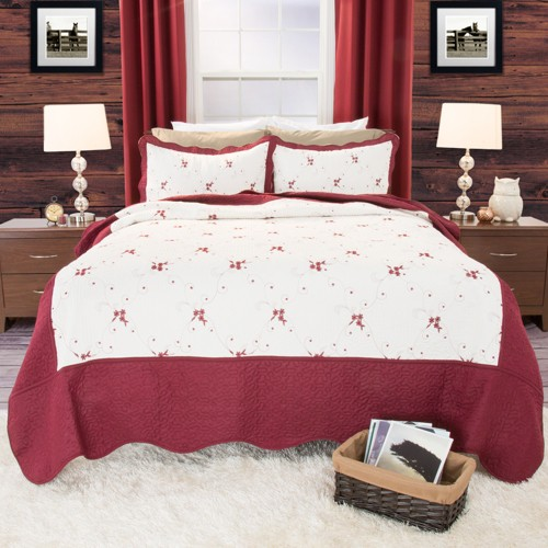 Chloe Embroidered Quilt Set (Twin) Red 2pc - Yorkshire Home