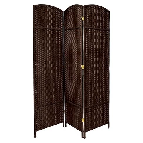 7 ft. Tall Diamond Weave Room Divider - Dark Mocha (3 Panels) - image 1 of 1
