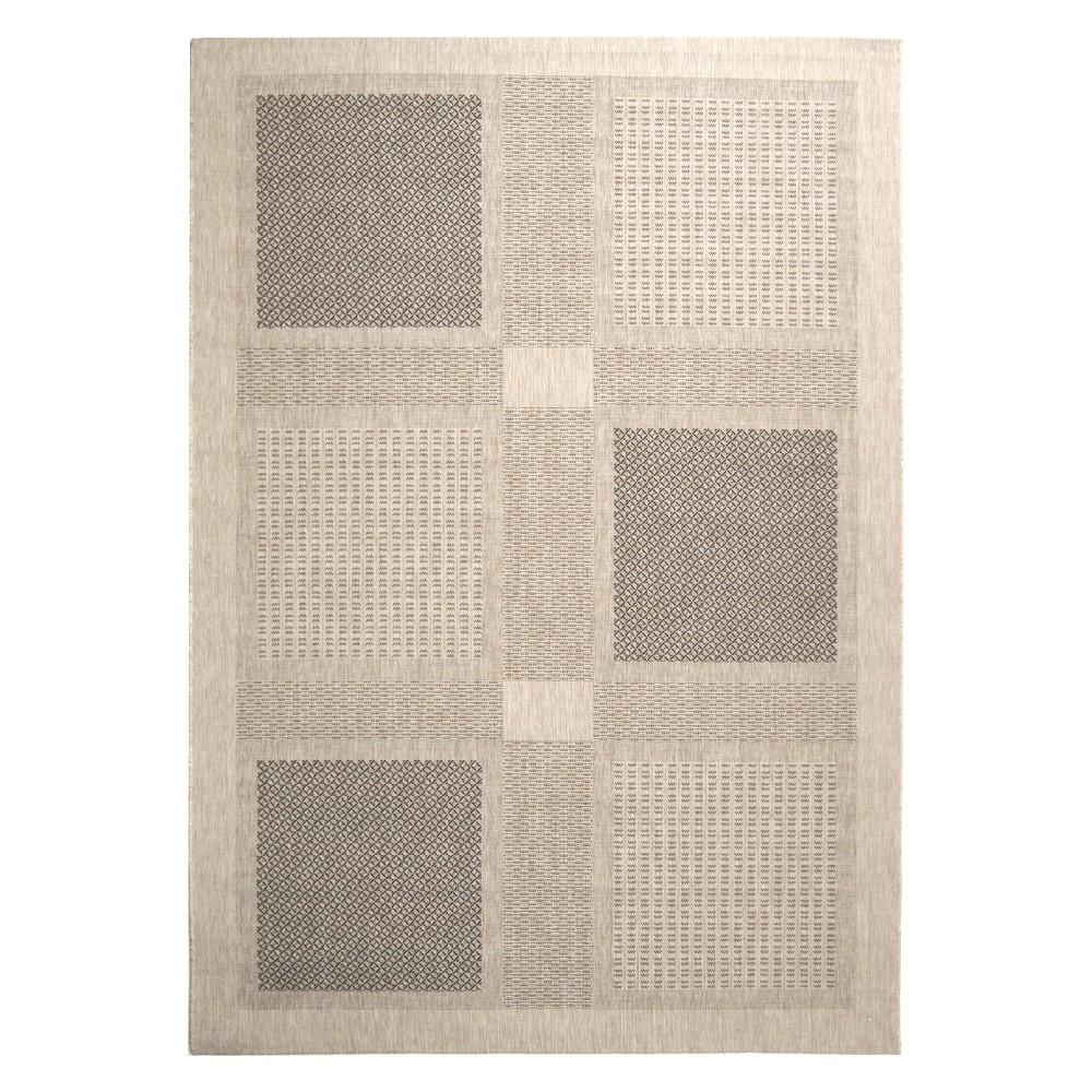 Montpellier 8' x 11' Outdoor Rug Sand/Black (Brown/Black) - Safavieh