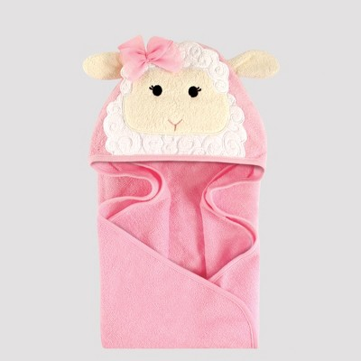 Hudson Baby Girls' Animal Face Hooded Towel, Lamb - Pink 0-24M
