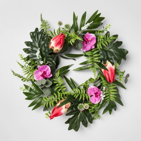 "24"" Artificial Protea And Dancing Orchid Flower Wreath Pink/Purple - Opalhouse™ - image 1 of 3"