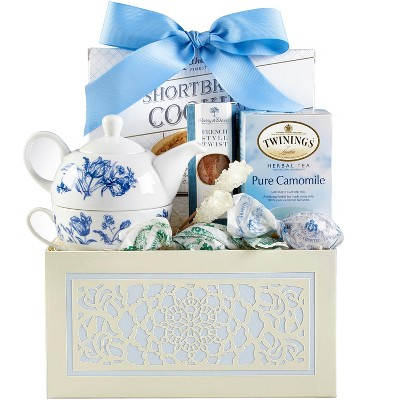 1-800-Baskets Mother's Day Tea Gift Basket, Includes Twinings Camomile tea, stoneware blue flower tea pot and cup