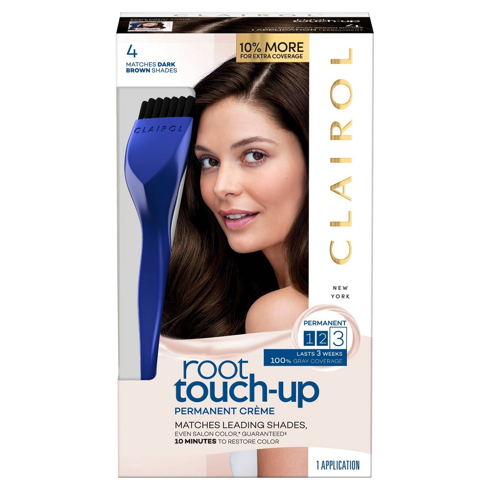 Image of Clairol Root Touch-Up Permanent Hair Color - 4 Dark Brown - 1 kit