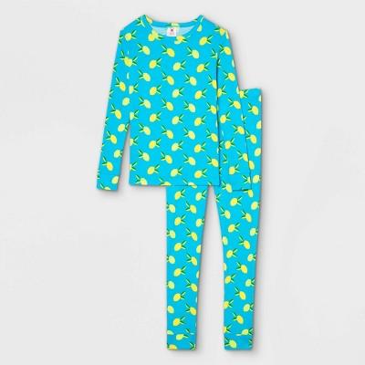 Kids' Lemon Print 100% Cotton Tight Fit Matching Family Pajama Set - Blue