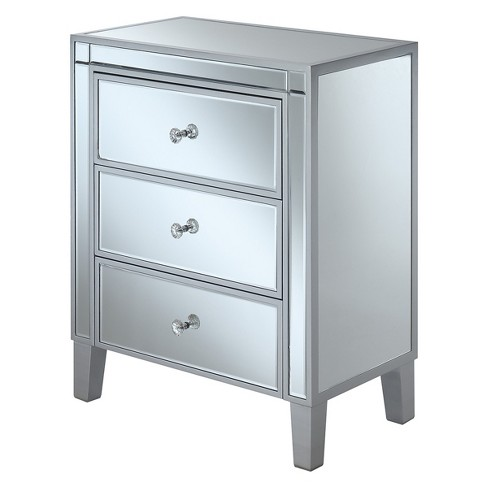 Gold Coast 3 Drawer Mirrored End Table Silver/Mirror - Johar Furniture - image 1 of 3