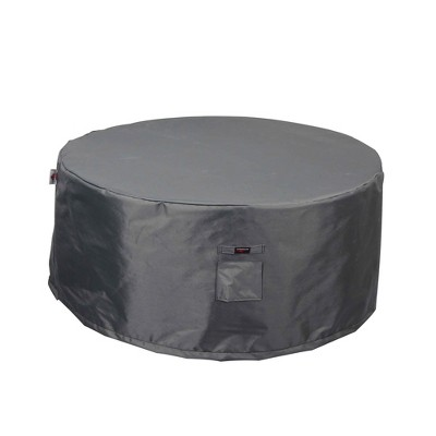 Shield Titanium 3-Layer Water Resistant Outdoor Fire Table Round Covers, Dark Grey