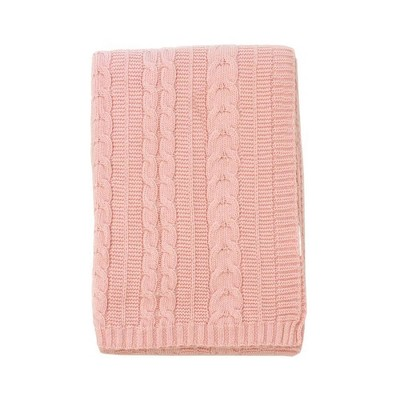 Kimberly Grant Cable Knit Blanket - Pink