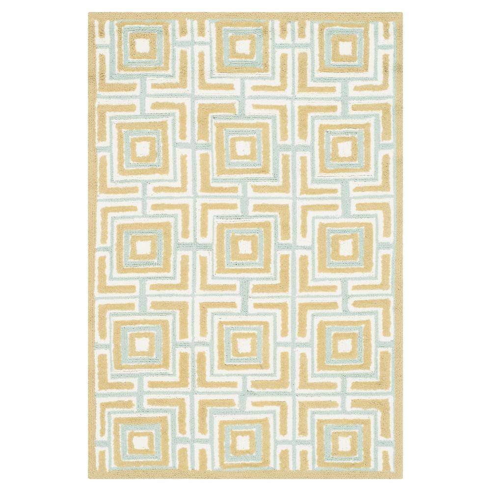 Olive/Light Blue Geometric Hooked Accent Rug - (2'X3') - Safavieh, Green