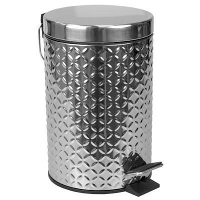 Home Basics Embossed Stainless Steel  3 Lt  Waste Bin, Silver