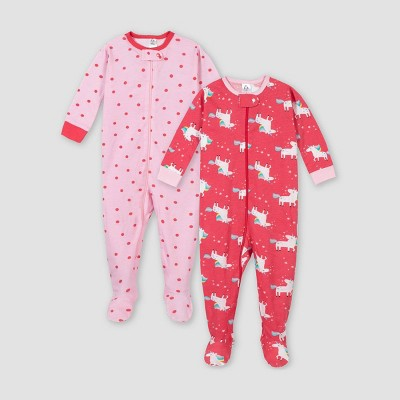 Gerber Baby Girls' 2pk Unicorn 100% Cotton Footed Unionsuit - Pink/Red 6M
