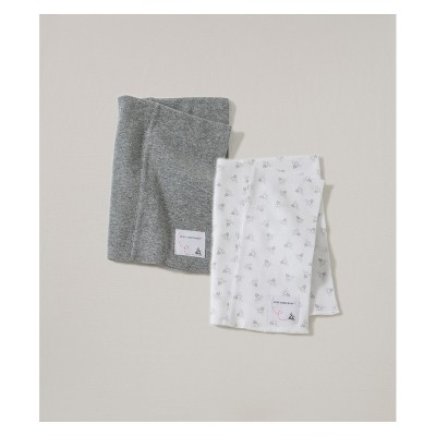 Burt's Bees Baby Organic Cotton 2pk Burp Cloth Set - Heather Gray