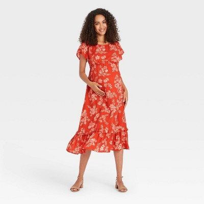 Flutter Short Sleeve Woven Maternity Dress - Isabel Maternity by Ingrid & Isabel™ Floral Print