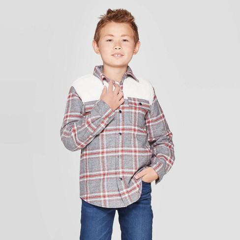 Boys' Sherpa Shirt Jacket - Cat & Jack™ Gray - image 1 of 3