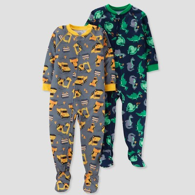Baby Boys' 2pk Construction/Dino Footed Pajama Set - Just One You® made by carter's Gray 9M