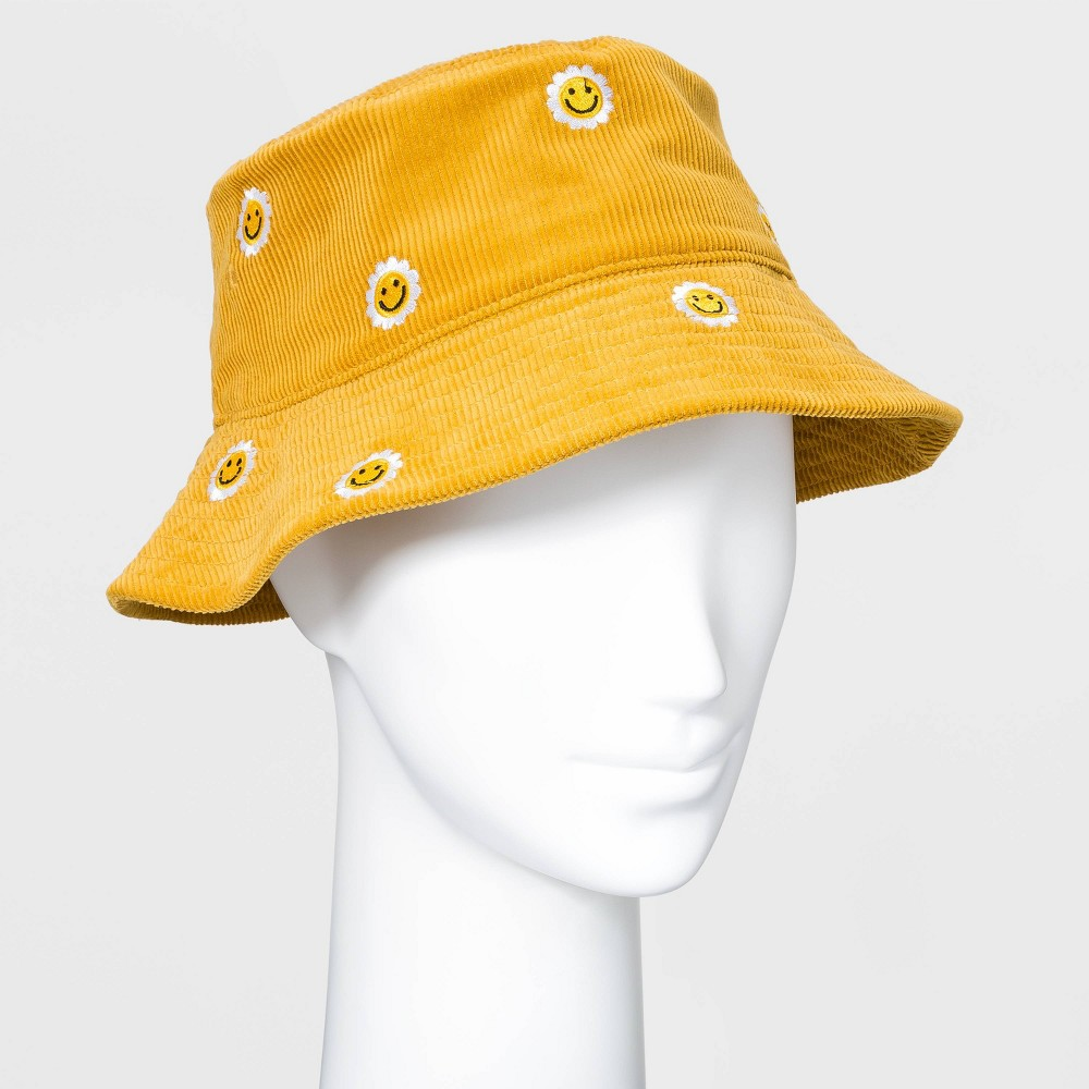 Vintage Hats   Old Fashioned Hats   Retro Hats Womens Embroidered Smiley Face Corduroy Bucket Hat - Camel $15.00 AT vintagedancer.com