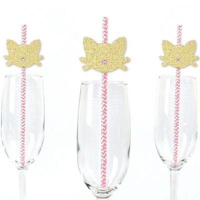 Big Dot of Happiness Gold Glitter Cat Party Straws - No-Mess Real Glitter Cut-Outs & Decorative Baby Shower or Birthday Party Paper Straws - Set of 24