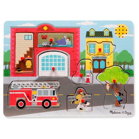 Melissa & Doug Around the Fire Station Sound Puzzle - Wooden Peg Puzzle (8pc) - image 1 of 3
