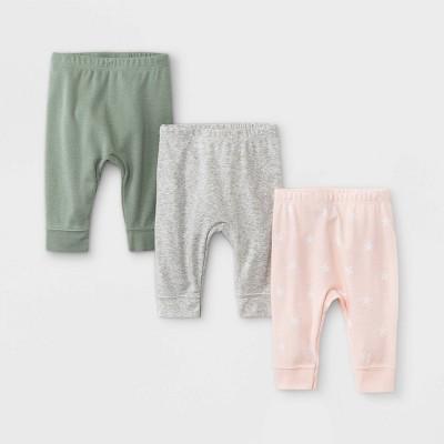 Baby Girls' 3pk Star Print Basic Jogger Pull-On Pants - Cloud Island™ Dark Green Newborn