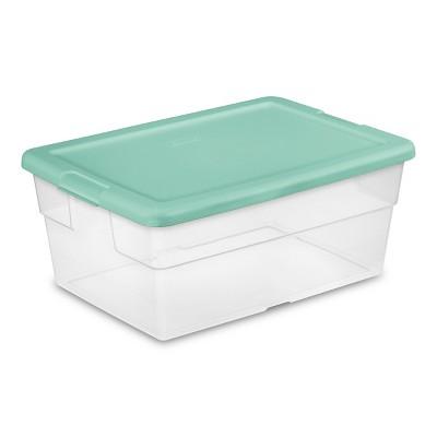 Room Essentials Set of Two 16 Qt Clear Boxes Fresh Melon Lids