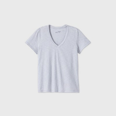 Women's Striped Short Sleeve V-Neck T-Shirt - Universal Thread™ Blue/White S