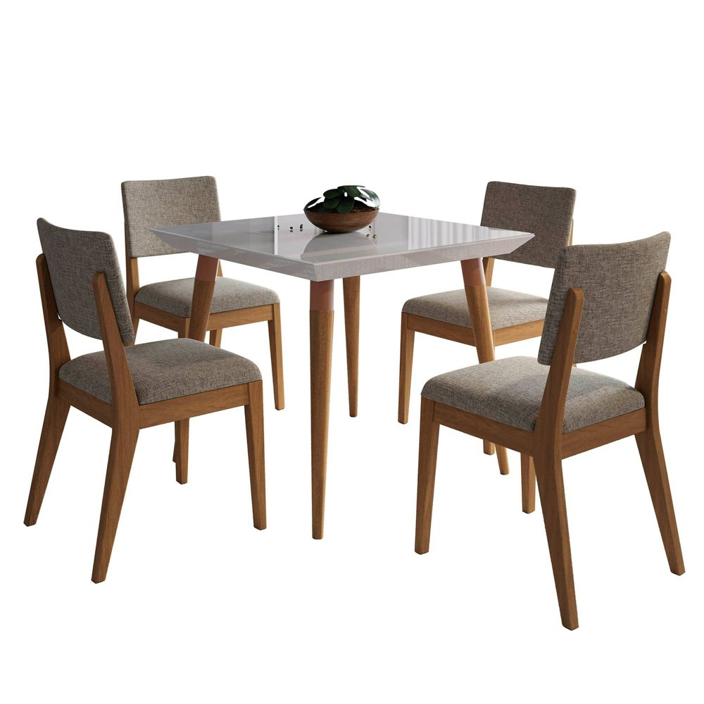 35.43 5pc Utopia and Dover Dining Set Off-White/Gray (Beige/Gray) - Manhattan Comfort