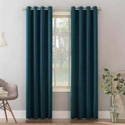 "84""x54"" Seymour Grommet Top Room Darkening Window Curtain Panel Teal - Sun Zero"