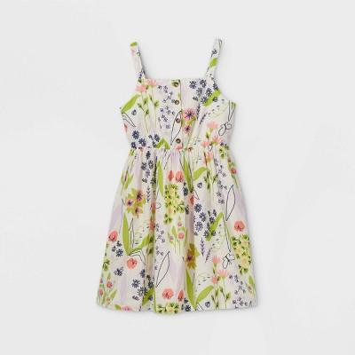 Girls' Button-Front Sleeveless Woven Dress - Cat & Jack™