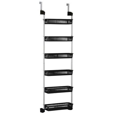 Household Essentials 6 Basket Over-the-Door Storage Rack Black