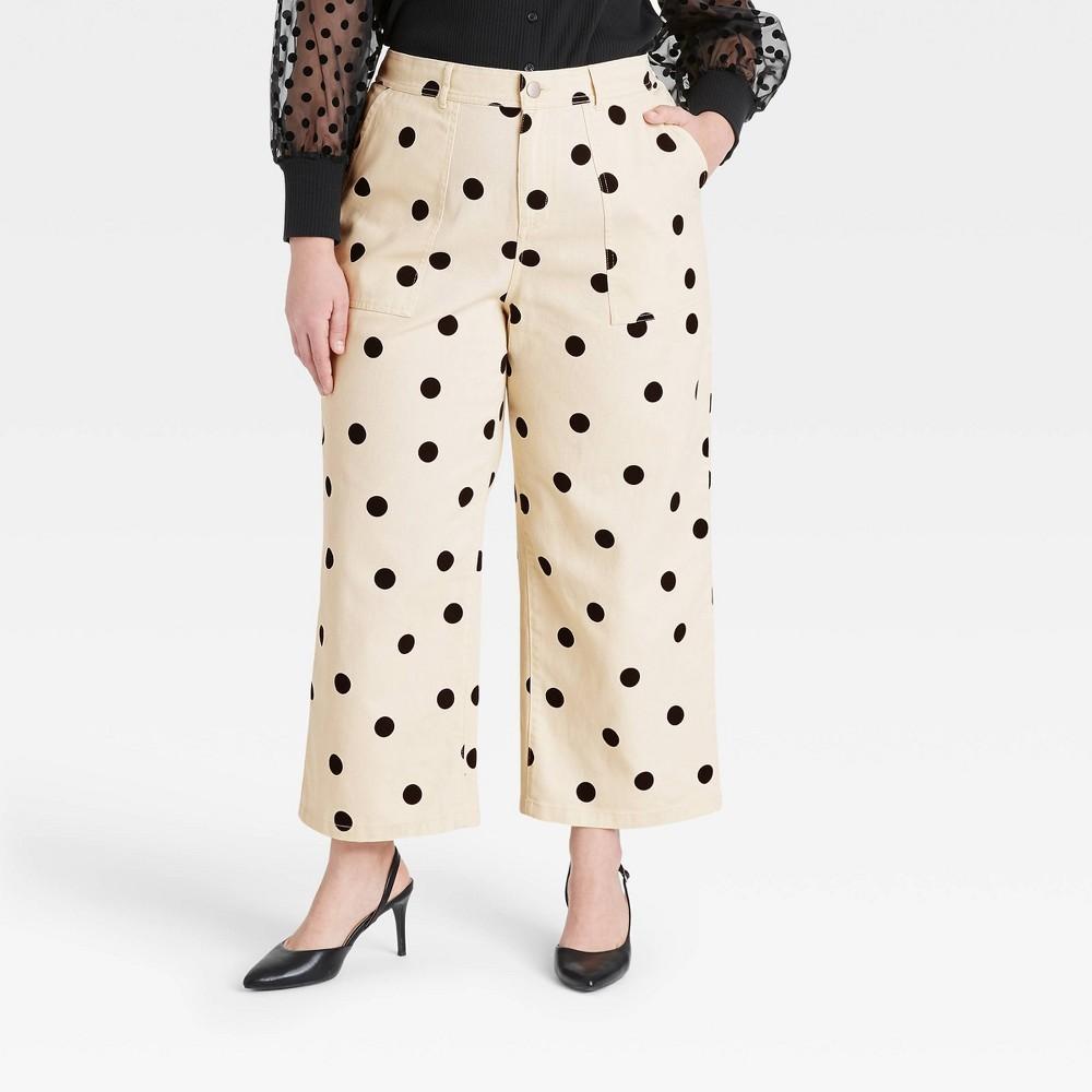 Women 39 S Plus Size Polka Dot High Rise Wide Leg Pants Who What Wear 8482 Cream 22w