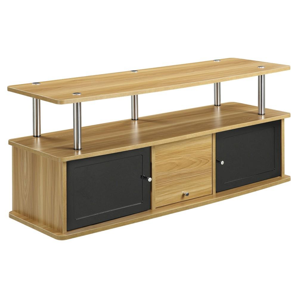 TV Stand with 3 Cabinets Light Oak - Johar Furniture