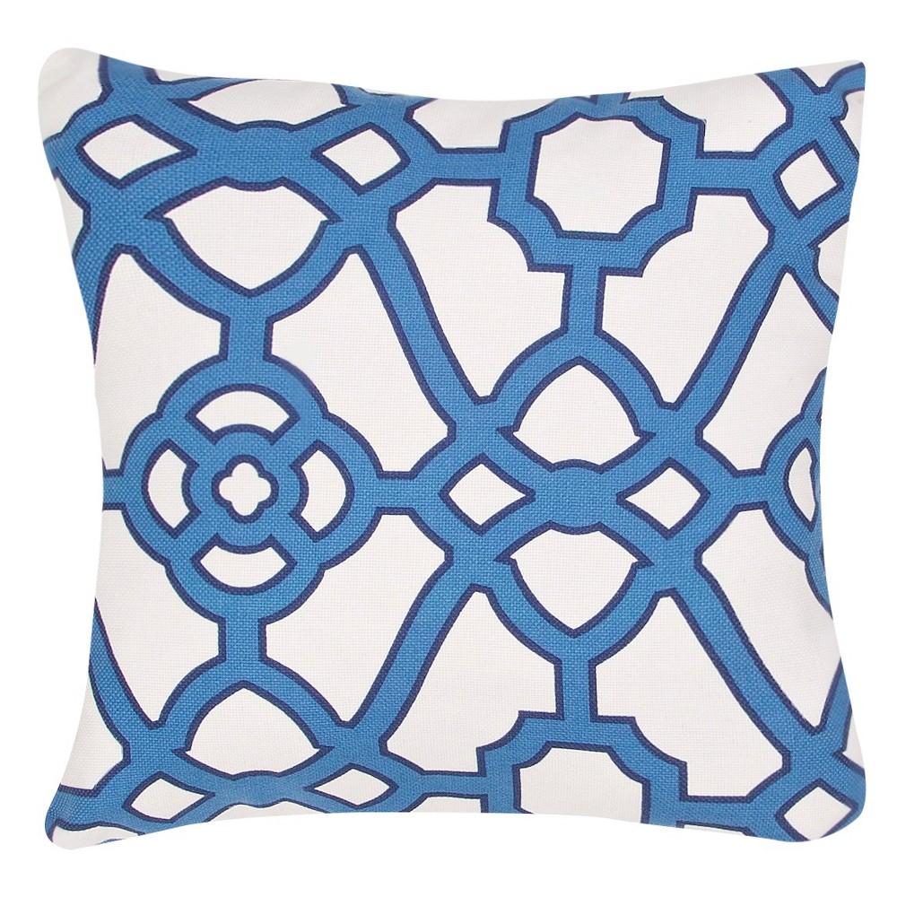 Image of Blue Veranda Pavilion Fretwork Throw Pillow - Jaipur