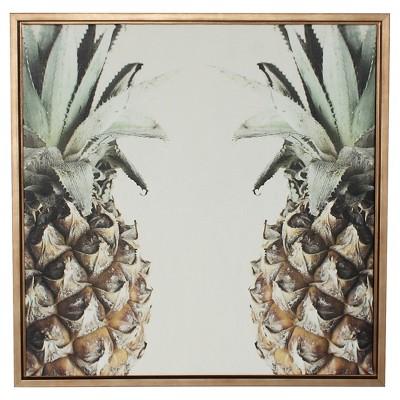 Pineapple Framed Canvas Art Gold (24 x24 )- Uniek