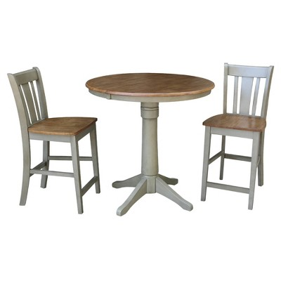 """36"""" Mona Round Extension Dining Table with 2 San Remo Stools - International Concepts"""