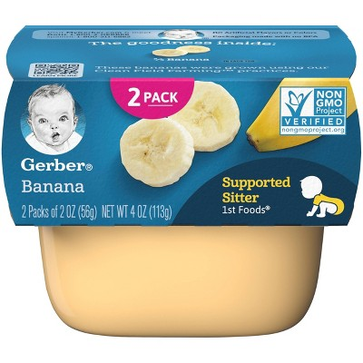 Gerber Supported Sitter 1st Foods Banana Baby Meals - 2ct/2oz Each